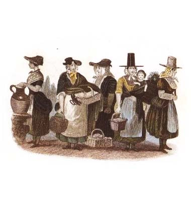 Welsh costumes greetings cards swansea shop a pack of four greetings cards showing an engraving c1855 of a group of women dressed in traditional welsh costume the cards are ideal for st davids m4hsunfo